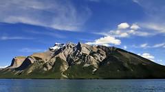 Mount Inglismaldie across Lake Minnewanka, Banff National Park, Alberta. (edk7) Tags: nikond300 nikonnikkor18200mm13556gedifafsvrdx edk7 2008 canada alberta rockymountains rockies banffnationalpark mountinglismaldie lakeminnewanka landscape mountain water sky cloud rock snow lake glacier crag cliff peak scree park vista