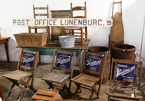 Piedmont Cigarettes Chairs ($716.80) and Lunenburg, VA Post Office Sign ($257.60)