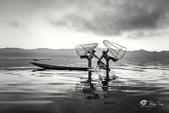 The dance in Inle lake (Bobby Tran 2012) Tags: fisherman people inlelake shanstates myanmar tourist travel traditional boat lake water famous favorites morning mountain freshair cloudy