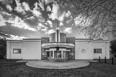 Maryborough Olympic Swimming Pool (phunnyfotos) Tags: phunnyfotos australia victoria vic centralvictoria maryborough pool swimmingpool municipalpool olympicpool publicpool architecture building 1940 ejpeck curved flagpole symmetry winter nikon countrytown swimming recreation pavilion text typography lettering writing font facade entrance front