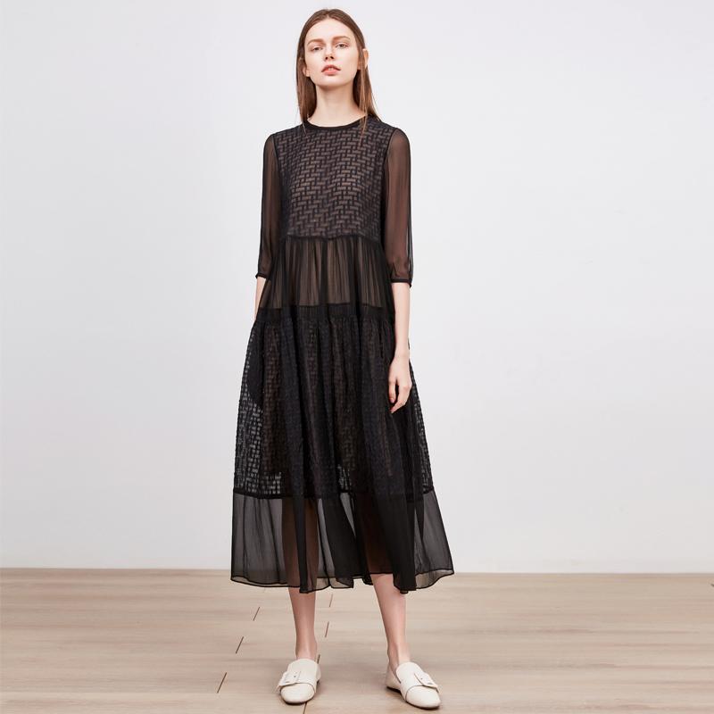 Silk dress 2018 new style big summer dress Hangzhou heavy weight big code Korean version loose silk long skirt