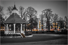 City at sunset (Pam RVA) Tags: city chapelfield gardens sunset night bandstand park buildings street orange monochrome norwich