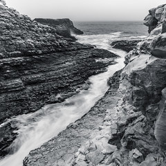 Davenport Stream (lycheng99) Tags: davenport stream river ocean waves current rocks rockformation flow longexposure nature landscape monochrome horizon california beach cloudy