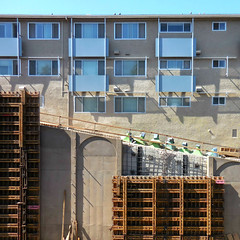 < They'll come out swingin' eventually > (Wandering Dom) Tags: reconstruction georgiastreet bridge workers onbreak building architecture geometry concrete wood usa southerncalifornia living