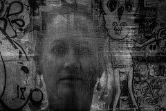 How long before I see your face (Philip L Hinton A.R.P.S.) Tags: art texture dark portrait poetry mono musicmatch