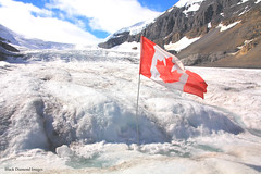 Canadian Flag Flying on the Athabasca Glacier, Columbia Icefield, Icefields Parkway, Alberta,Canada (Black Diamond Images) Tags: athabascaglacier columbiaicefield jaspernationalpark glacier icefieldsparkway alberta canada scenictours scenic 2012 mountains mountain ice banfftojasper landscape sky snow mountainside canadianflag flag travelalberta albertatravel albertaholiday holidayalberta