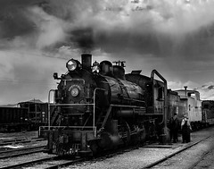 024693763661-103-Steam Locomotive-6-Black and White (Jim There's things half in shadow and in light) Tags: america ely nevada nevadanorthernrailwaymuseum southwest usa whitepinecounty history locomotive museum rail steam train people blackandwhite tracks