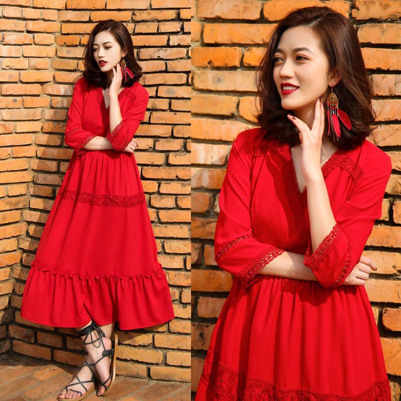 Thailand national wind beach skirt, seaside resort 2018 new female summer Bohemia dress red dress
