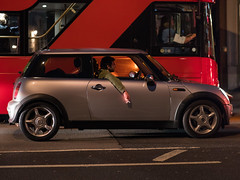 Smoking Mini (Magic Pea) Tags: street urban photo photography magicpea london farringdon bus mini smoking man car driving streetphotography unposed candid night