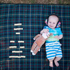 Arthur, day 213, 365 days. (evilibby) Tags: arthur baby scrabble scrabbletiles blanket happy sixmonthsold 6monthsold rufus cat knittedcat rufustherainbowcat cheeky laugh laughing smile smiling smileynewforestfolkfestival newforestfolkfestival2018 folkfestival musicfestival eardefenders festival picnicblanket grass outside outdoors arthurs365days