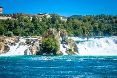 One of Europe's largest waterfall the Rhine Falls near Schaffhausen. By ship one can reach castles, the Rhine Falls Basin.
