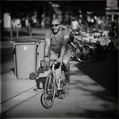 Retro (Fouquier ॐ) Tags: rucksack beard sunglasses bicycle monochrome mono blackandwhite antwerp belgium