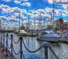 My dream boats, at Hull Marina! 😀⛵ (LeanneHall3 :-)) Tags: chains black white boats marina hullmarina kingstonuponhull blue skyscape clouds talkativeclouds cloudsstormssunsetssunrises landscape canon 1300d buildings groupenuagesetciel