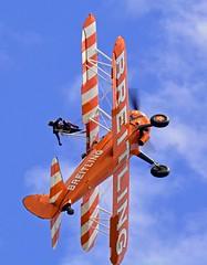 Wing Walking Teacher.. (mickb6265) Tags: oldwarden shuttleworthcollection bedfordshire familyairshow2018 wingwalker theflyingcircuswingwalkingteam boeingstearman breitling