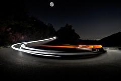to the moon and back (sguotti_francesco) Tags: moon luna luci longexposure car street night tree travel nikond60