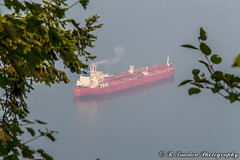 Smokey Freighter (R. Sawdon Photography) Tags: freighter oiltanker kindermorgan burnabymountainleaves smoke smog red view ship burrardinlet ocean indianarm tanker