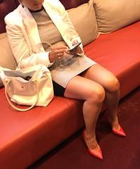 MyLeggyLady (MyLeggyLady) Tags: flashing leather nopanties cleavage sex hotwife milf sexy secretary teasing thighs minidress upskirt red pumps cfm stiletto legs heels