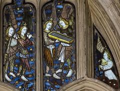 Warwick, St Mary's church, Beauchamp chapel window detail (Jules & Jenny) Tags: beauchamp warwick stainedglasswindow stmaryschurch angelmusicians 15thcentury