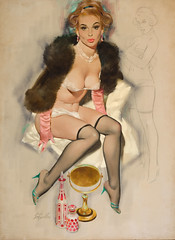 Pin-Up in Lingerie and Fur by Fritz Willis (gameraboy) Tags: fritzwillis pinup pinupart art illustration vintage painting pinupinlingerieandfur lingerie boobs thighhighs nylons stockings