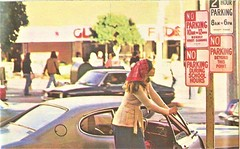 Can't you read the signs, 1974 (STUDIOZ7) Tags: woman girl smoking smoker cigarette 1970s seventies 70s bandana car automobile school signs road highway noparking shoppingcenter scarf