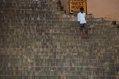 Ganges Ghat (jordi_s_r) Tags: india ganges varanasi ghat stairs man alone