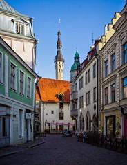Suur-Karja street (Tiigra) Tags: tallinn harjumaakond estonia ee kesklinna 2018 architecture city gothic renaissance road roof spire tower townhall weathervane