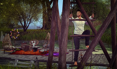 Climb up the rope ladder. (jc.underwood) Tags: ropeladder climbing trees frisland chairs water structures seagrass 3dlife secondlife 3dpeople person