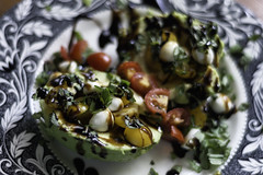 Avocado caprese! (Jeananne Martin) Tags: food healthy vegetarian basil mozzarella pearls tomatoes avocado balsamic glaze yummy delicious color colorful sogood easy quick fast dinner lunch snack