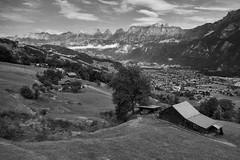 Switzerland – View from Kleinberg (Thomas Mülchi) Tags: flumskleinberg cantonofstgallen switzerland 2018 gondolacableway gondola cableway gondelbahn saxli monochrome bw churfirstenmountainrange churfirsten mountain mountains flumserbergsaxli ch