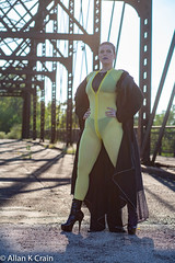 "Day 321: This look is reminiscent but legally distinct from the Disney/Marvel Comics property ""Negasonic Teenage Warhead"" (allankcrain) Tags: cutewomen jessica jessicacox amberadelaide urbex bridge overpass catsuit yellow trenchcoat shorthair wish stripperheels"
