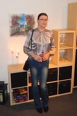 Cheers (Rikky_Satin) Tags: silk satin blouse top denim jeans ankle boots handbag crossdresser transgender tgirl tgurl gurl