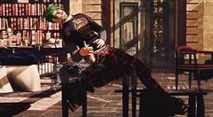 Lowlife (Greeneyed System) Tags: jamesmorris hospitalwing hospital infirmary castle hogwarts fantasy roleplay rp secondlife sl magic rum drunk drink booze smoking punk greenhair tartan platforms rock gryffindor teenagers teenagersaresoweird morning avatar male man maleavatar detention detentionchallenge