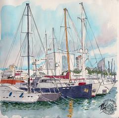 Puerto (Fotero) Tags: usk urbansketch urbansketcher urbansketching acuarela watercolor dibujo cuaderno cuaderno17 sketchbook puerto barcelona barcos