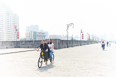 2018 Xi'an - On and Around the Old City Walls 29 (C & R Driver-Burgess) Tags: xian wall city towers ancient historical stone defense tourist cyclist tandem together women 西安