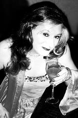 salmon ballgown b&w (Martina H.) Tags: closeup salmon orange dress gown party cocktail woman girl coral bw