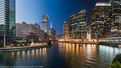 Chicago River Time Lapse Photo (20180810-DSC06829-Edit) (Michael.Lee.Pics.NYC) Tags: chicago chicagoriver river waterfront wolfpoint riverwalk cityscape architecture timelapse composite twilight bluehour night reflection sony a7rm2 voigtlanderheliar15mmf45