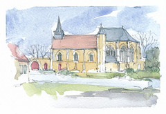 Folleville, Somme, France (Linda Vanysacker - Van den Mooter) Tags: folleville somme france 2018 thumbnail watercolor watercolour visiblytalented vanysacker vandenmooter tekening sketch schets potlood pencil lindavanysackervandenmooter lindavandenmooter drawing dessin croquis crayon art aquarelle aquarell aquarel akvarell acuarela acquerello frankrijk ffrance église kerk church
