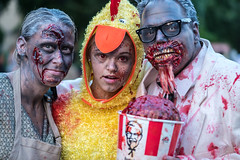 After the zombie apocalypse, Harland, Margaret & Josephine discovered they no longer liked chicken in a bucket (sniggie) Tags: louisville louisvillezombiewalk brains bucketofbrains family zombies