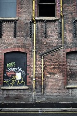 Urban Grit. (Snipsnapper. Back after a long absence, long story) Tags: mancmade dunlop factory wall gritty urban brick brickwall old decay urbandecay manchester drainpipe graffiti urbanart