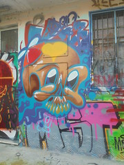 283 (en-ri) Tags: odac teschio skull marrone azzurro torino wall muro graffiti writing