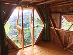 Hexagonal window of the tiny bamboo house 2018 PermaTree, alle de las Luciérnagas, Yantzaza, Zamora, Ecuador (yago1.com) Tags: bamboo permatree architecture construction ecuador