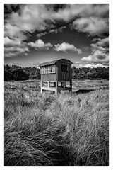 Watcher of The Seas (ianrwmccracken) Tags: grass tin corrugated landscape brick observation sony structure mono a6000 lookout fife cloud tree defence forest building tentsmuir sky coast bw blackandwhite wwii metal
