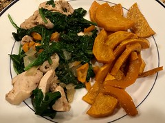 SZ Ranch chicken with sweet baby orange peppers and spinach, with roasted honeynut squash (TomChatt) Tags: food homecooking