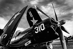 CORSAIR FOLDED UP AND COVERED FOR THE NIGHT (panache2620) Tags: plane monochrome corsair photojournalism blackwhite bw contrast photodocumentary warbird oshkosh wisconsin pistontype wwii candid military