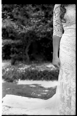 BrittanyTom_Film_068 (Johnny Martyr) Tags: film 35mm bw blackandwhite composition dress bride wedding marriage arm hip gown white angle perspective bridal portrait forever infinity love commitment silent body