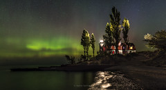 Northern Lights, Point Betsie (Aaron Springer) Tags: michigan northernmichigan lakemichigan thegreatlakes pointbetsie auroraborealis northernlights stars lighthouse nightsky nightphotography outdoor panoramiclandscape