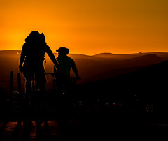 Cycling into the West (Peter Quinn1) Tags: silhouette cyclists derbyshire evening bike