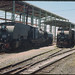 3.12.1968 Peterborough - South Australia locos SAR Garratt 401 + 402 - new loco sheds being erected (mb-s003-18)