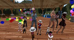 Birthday Party (cadeSL) Tags: sl secondlife second life virtual world family kids toddlers grown ups adults birthday party dance celebration balloons boys girls man women floor hats cool dude cousins aunt grand father mother sons daughters rp roleplay role play fun music