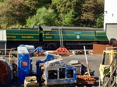 """Bullied """"Battle of Britain"""" 4-6-2 34081 """"92 SQUADRON"""" at Grosmont shed, North Yorkshire Moors Railway (colin9007) Tags: northyorkshiremoorsrailway nymr grosmont sr southern bulleid battleofbritain 92squadron 34081 462"""